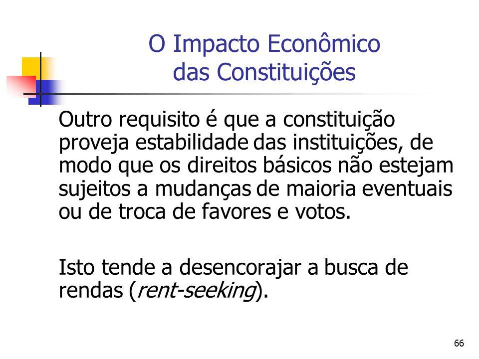 66 O Impacto Econômico das Constituições Outro requisito é que a constituição proveja estabilidade das instituições, de modo que os direitos básicos n