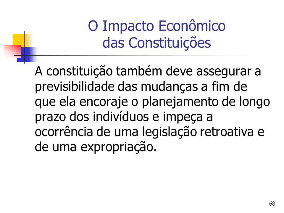 68 O Impacto Econômico das Constituições A constituição também deve assegurar a previsibilidade das mudanças a fim de que ela encoraje o planejamento