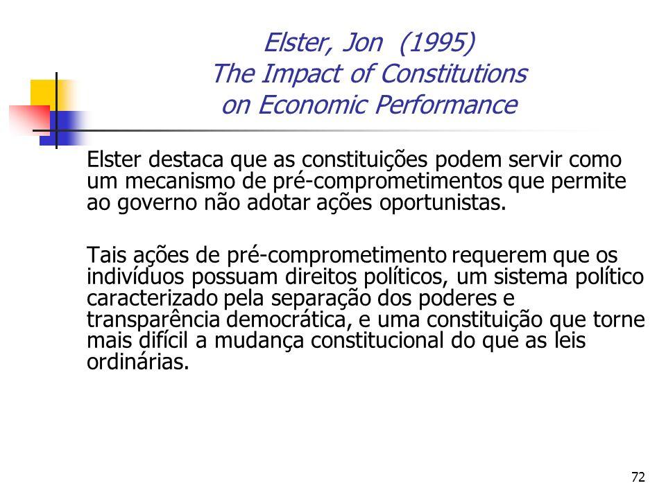 72 Elster, Jon (1995) The Impact of Constitutions on Economic Performance Elster destaca que as constituições podem servir como um mecanismo de pré-co