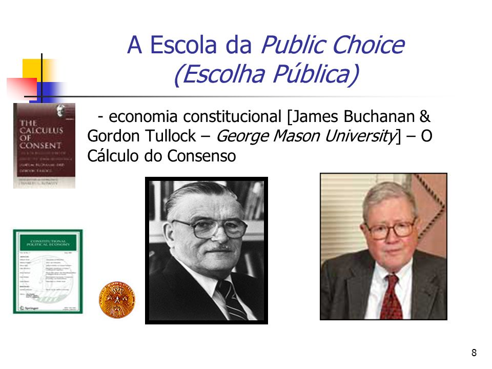 39 A Contribuição de James Buchanan Buchanan s contribution is that he has transferred the concept of gain derived from mutual exchange between individuals to the realm of political decision-making.