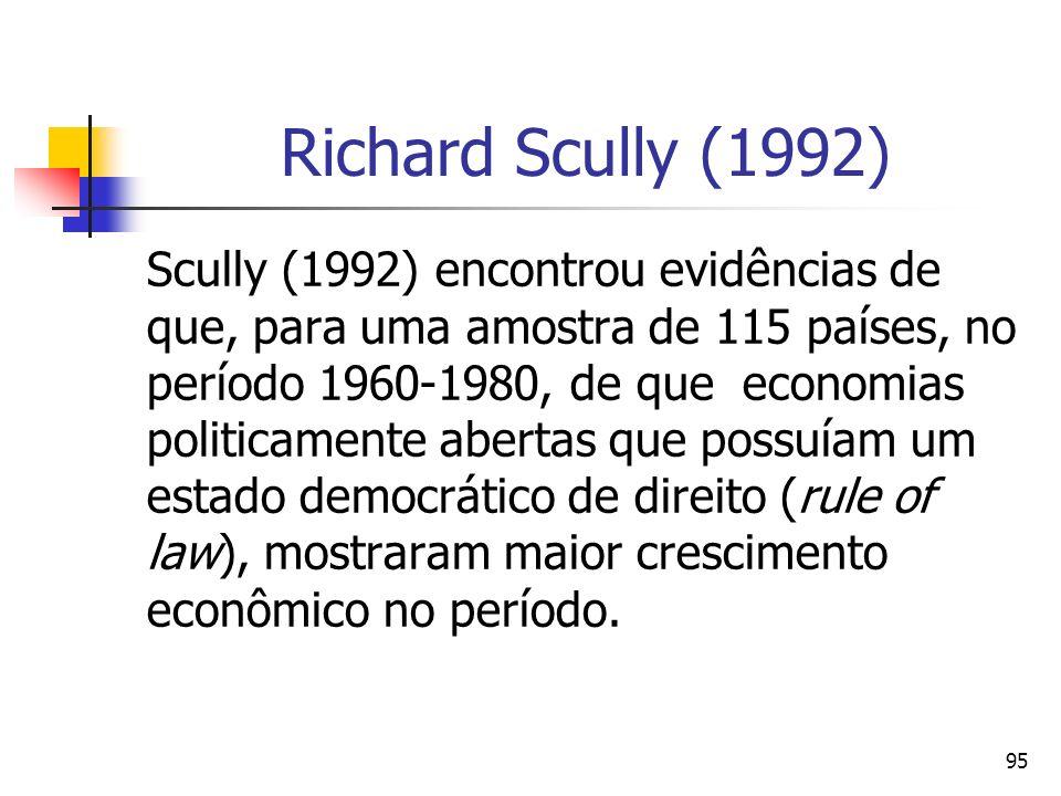 95 Richard Scully (1992) Scully (1992) encontrou evidências de que, para uma amostra de 115 países, no período 1960-1980, de que economias politicamen
