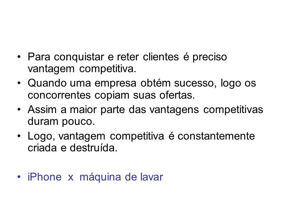 Para conquistar e reter clientes é preciso vantagem competitiva. Quando uma empresa obtém sucesso, logo os concorrentes copiam suas ofertas. Assim a m