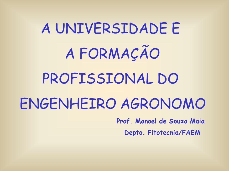 A UNIVERSIDADE E A FORMAÇÃO PROFISSIONAL DO ENGENHEIRO AGRONOMO Prof.