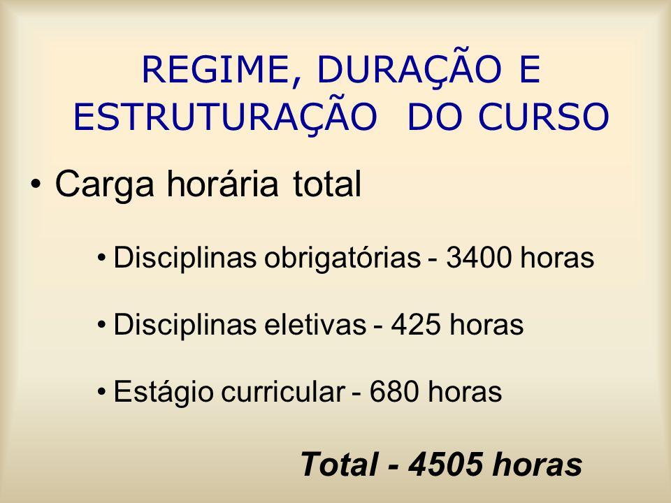 REGIME, DURAÇÃO E ESTRUTURAÇÃO DO CURSO Carga horária total Disciplinas obrigatórias - 3400 horas Disciplinas eletivas - 425 horas Estágio curricular - 680 horas Total - 4505 horas