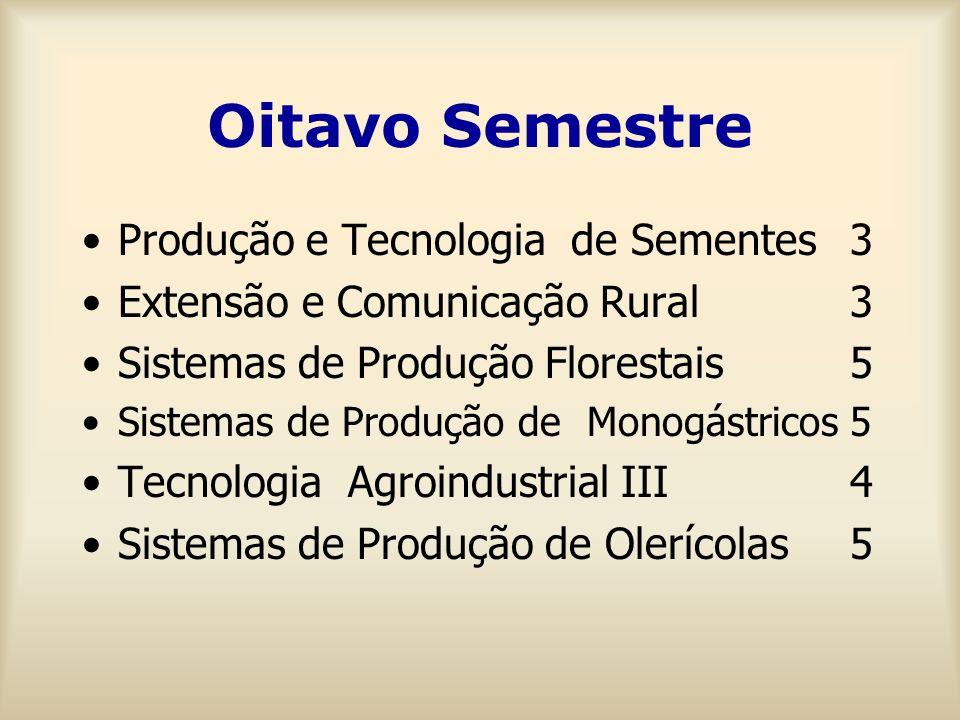 Oitavo Semestre Produção e Tecnologia de Sementes 3 Extensão e Comunicação Rural3 Sistemas de Produção Florestais5 Sistemas de Produção de Monogástricos5 Tecnologia Agroindustrial III 4 Sistemas de Produção de Olerícolas5