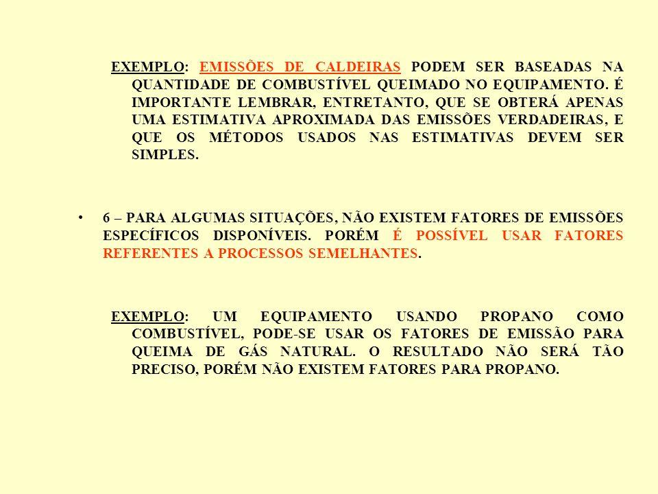 EXEMPLO: EMISSÕES DE CALDEIRAS PODEM SER BASEADAS NA QUANTIDADE DE COMBUSTÍVEL QUEIMADO NO EQUIPAMENTO. É IMPORTANTE LEMBRAR, ENTRETANTO, QUE SE OBTER