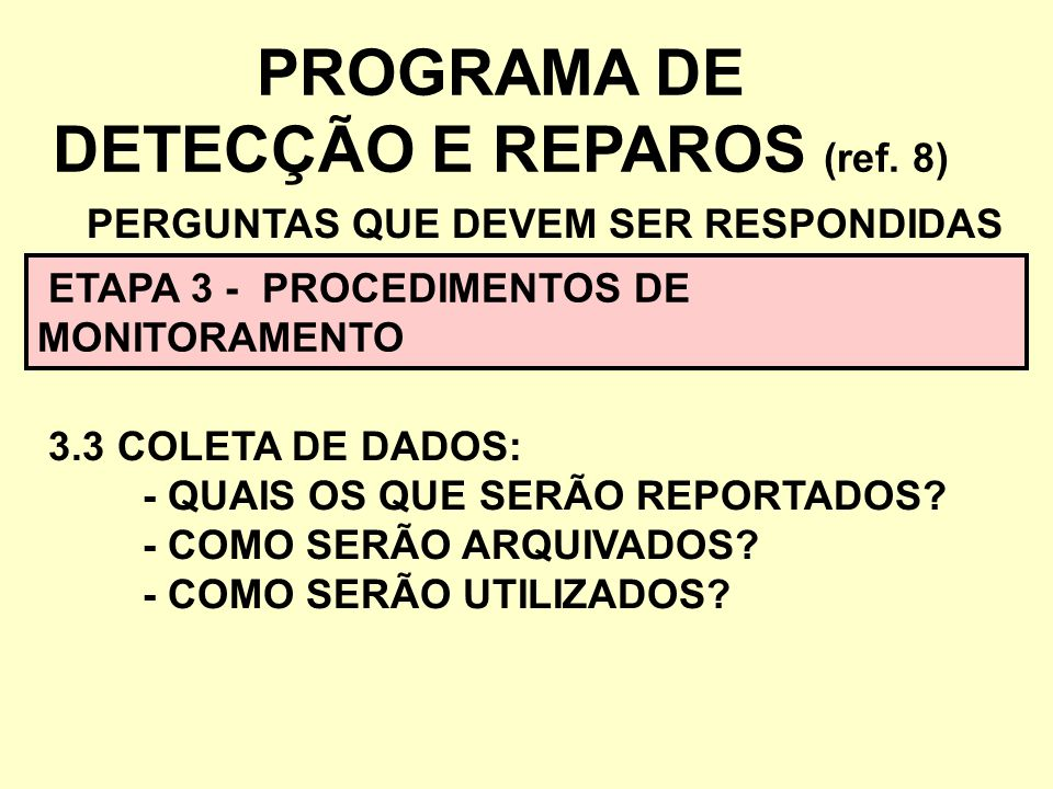 PROGRAMA DE DETECÇÃO E REPAROS (ref. 8) PERGUNTAS QUE DEVEM SER RESPONDIDAS ETAPA 3 - PROCEDIMENTOS DE MONITORAMENTO 3.3 COLETA DE DADOS: - QUAIS OS Q