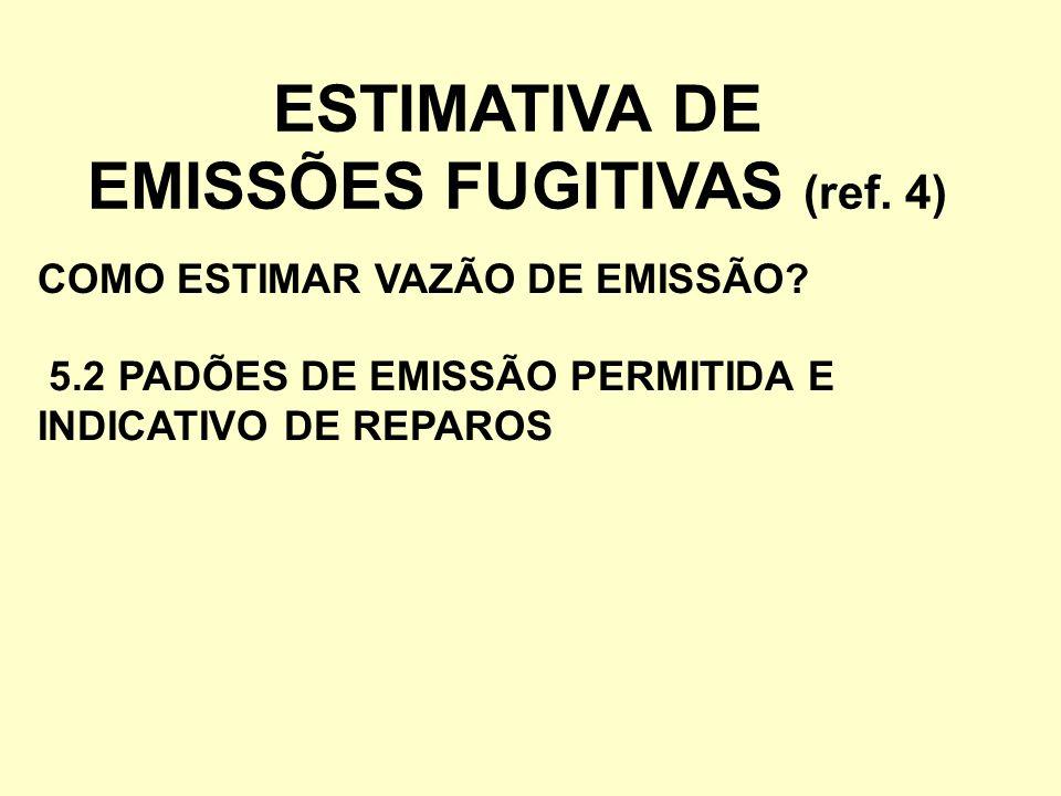 ESTIMATIVA DE EMISSÕES FUGITIVAS (ref. 4) COMO ESTIMAR VAZÃO DE EMISSÃO? 5.2 PADÕES DE EMISSÃO PERMITIDA E INDICATIVO DE REPAROS