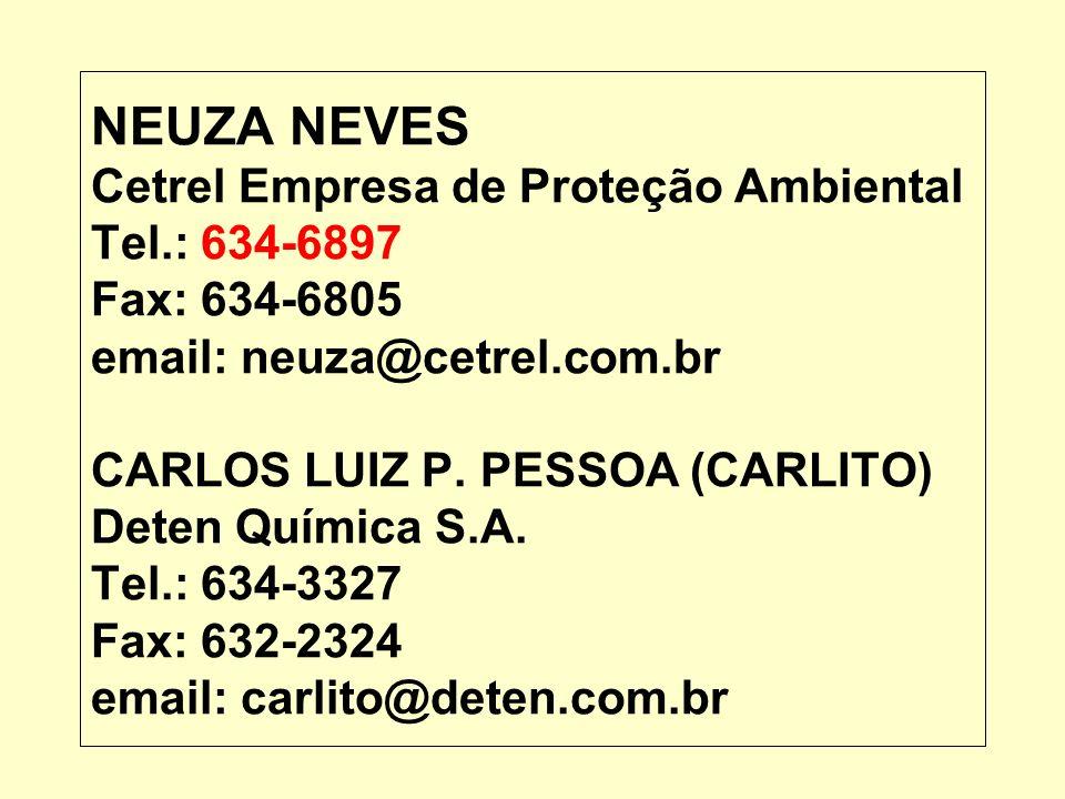 NEUZA NEVES Cetrel Empresa de Proteção Ambiental Tel.: 634-6897 Fax: 634-6805 email: neuza@cetrel.com.br CARLOS LUIZ P. PESSOA (CARLITO) Deten Química