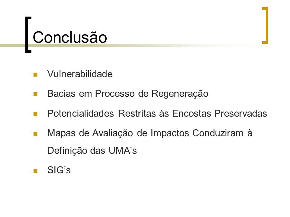 Conclusão Vulnerabilidade Bacias em Processo de Regeneração Potencialidades Restritas às Encostas Preservadas Mapas de Avaliação de Impactos Conduzira