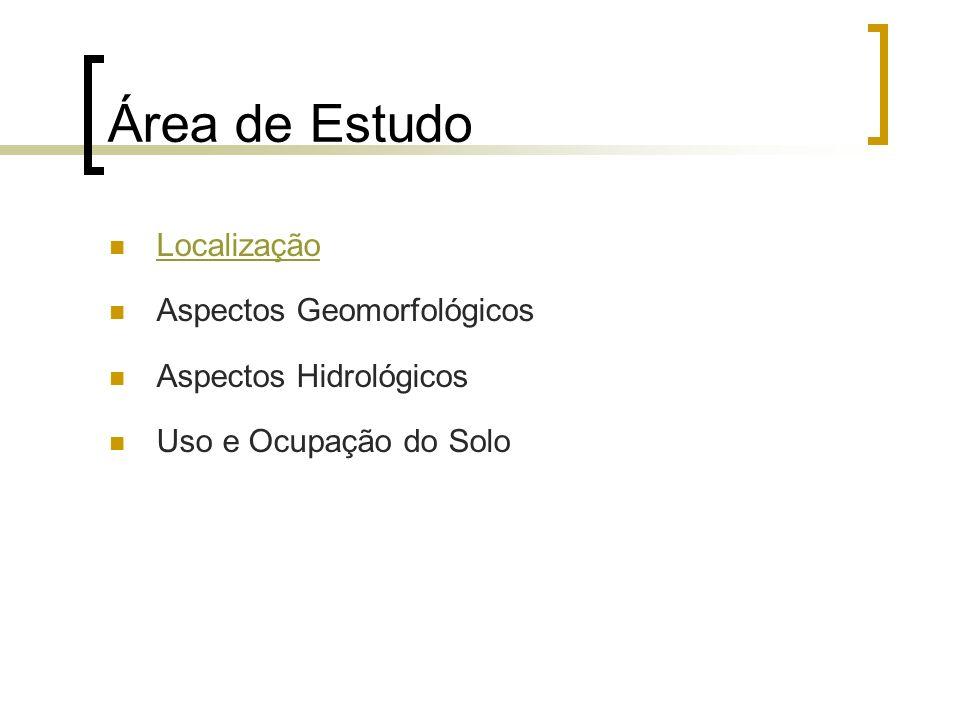 Área de Estudo Localização Aspectos Geomorfológicos Aspectos Hidrológicos Uso e Ocupação do Solo