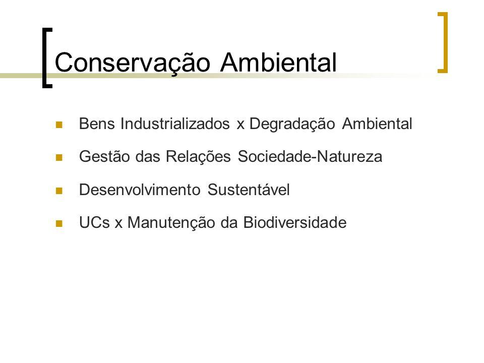 Conservação Ambiental Bens Industrializados x Degradação Ambiental Gestão das Relações Sociedade-Natureza Desenvolvimento Sustentável UCs x Manutenção