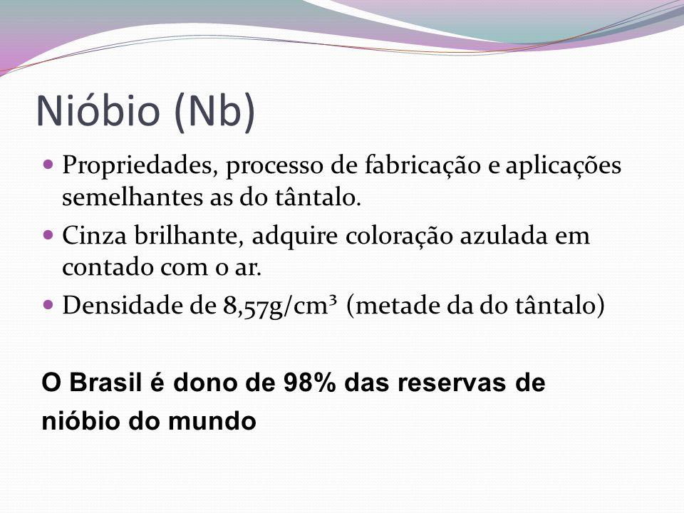 Nióbio (Nb) Propriedades, processo de fabricação e aplicações semelhantes as do tântalo. Cinza brilhante, adquire coloração azulada em contado com o a