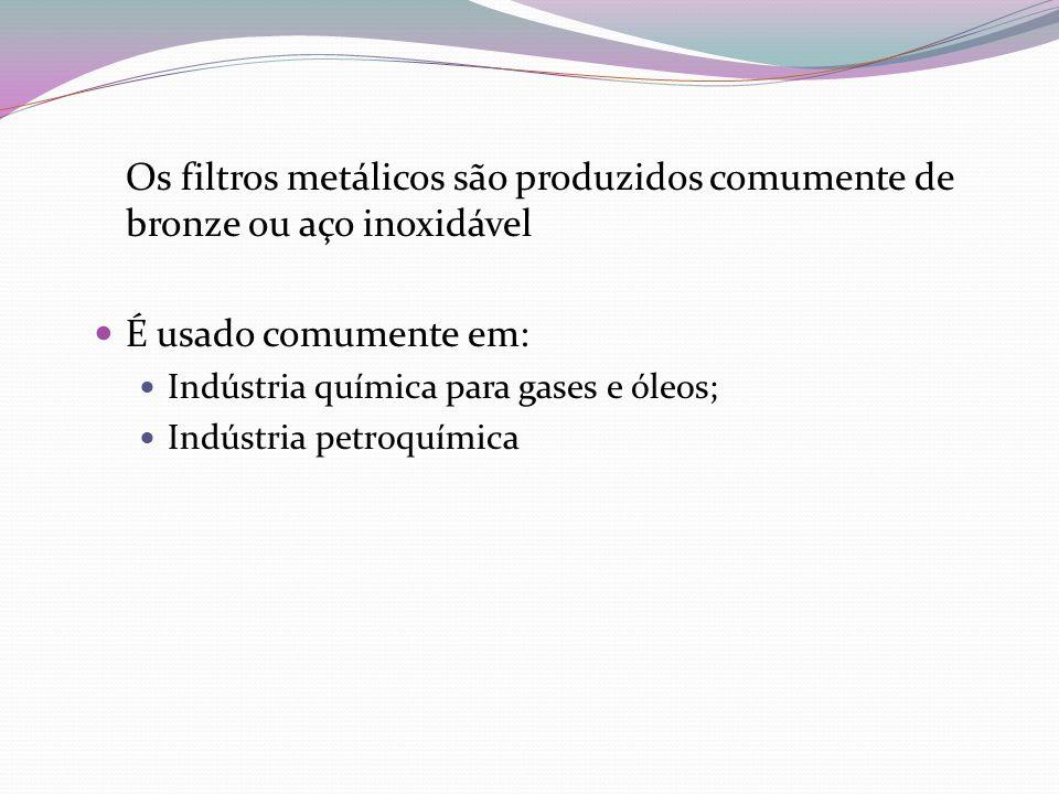 Os filtros metálicos são produzidos comumente de bronze ou aço inoxidável É usado comumente em: Indústria química para gases e óleos; Indústria petroq