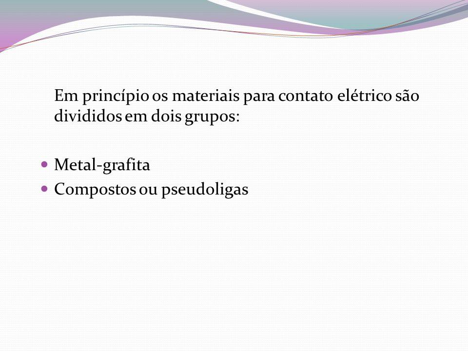 Em princípio os materiais para contato elétrico são divididos em dois grupos: Metal-grafita Compostos ou pseudoligas