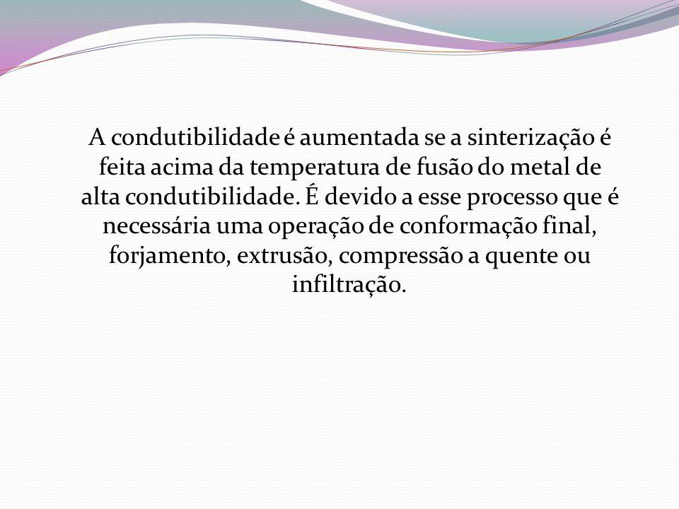 A condutibilidade é aumentada se a sinterização é feita acima da temperatura de fusão do metal de alta condutibilidade. É devido a esse processo que é