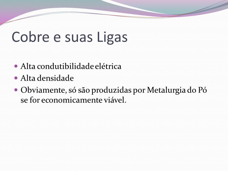 Cobre e suas Ligas Alta condutibilidade elétrica Alta densidade Obviamente, só são produzidas por Metalurgia do Pó se for economicamente viável.