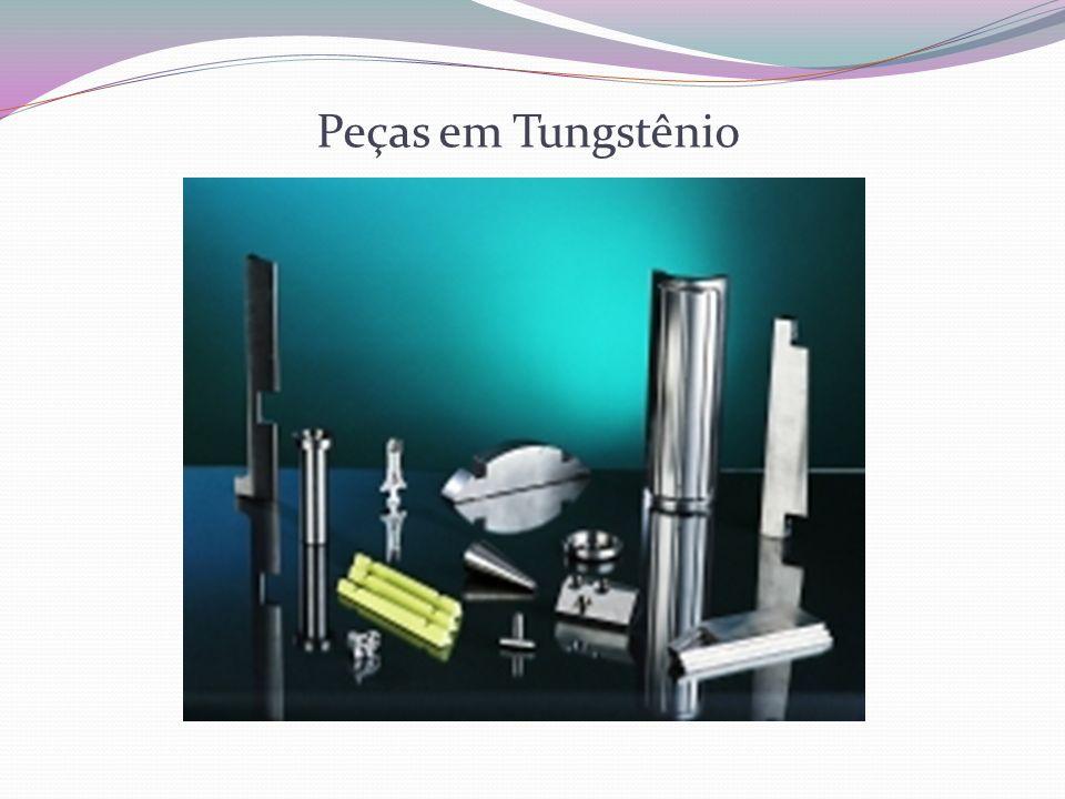 Dupla sinterização do Tungstênio Pré-sinterização: Em barras Em torno de 1000 e 1100°C Possibilita o manuseio Sinterização: Fornos elétricos especiais Atmosfera protetora de hidrogênio Temperatura de 3000°C