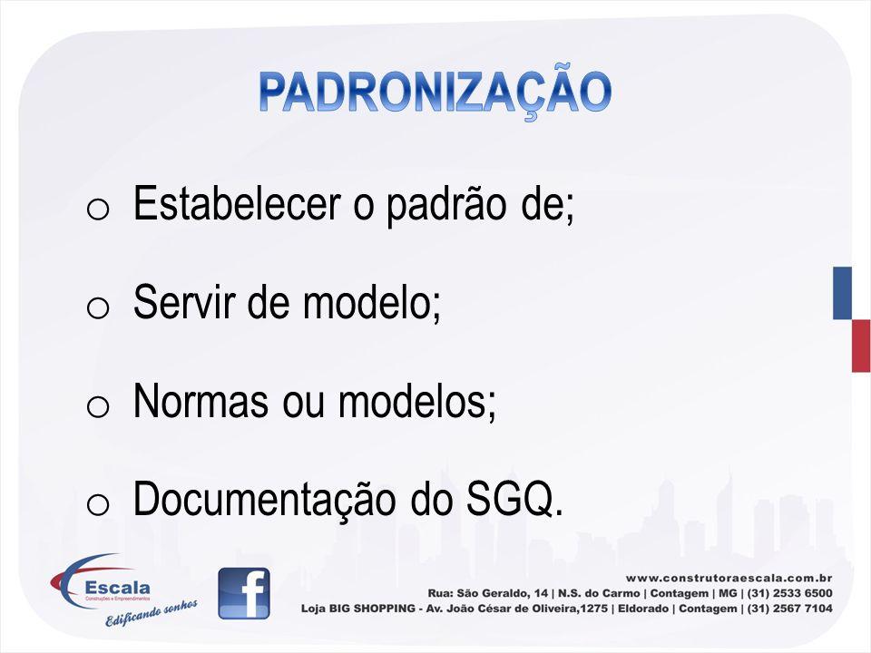 o Estabelecer o padrão de; o Servir de modelo; o Normas ou modelos; o Documentação do SGQ.