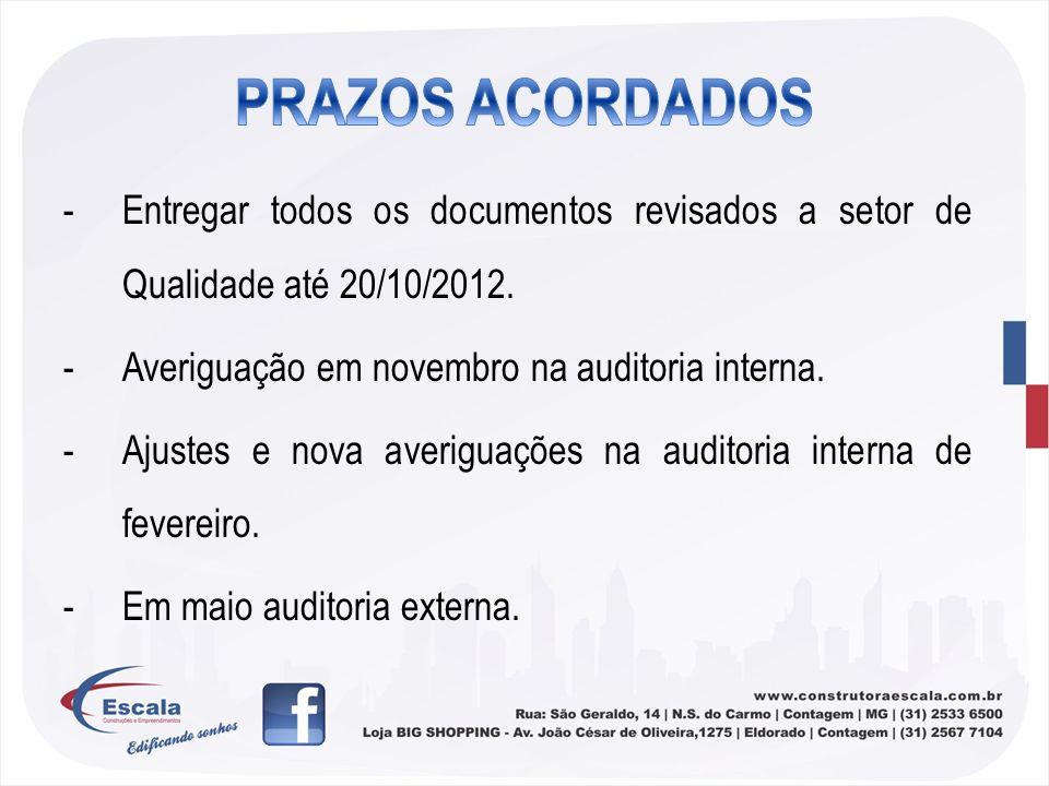 -Entregar todos os documentos revisados a setor de Qualidade até 20/10/2012. -Averiguação em novembro na auditoria interna. -Ajustes e nova averiguaçõ