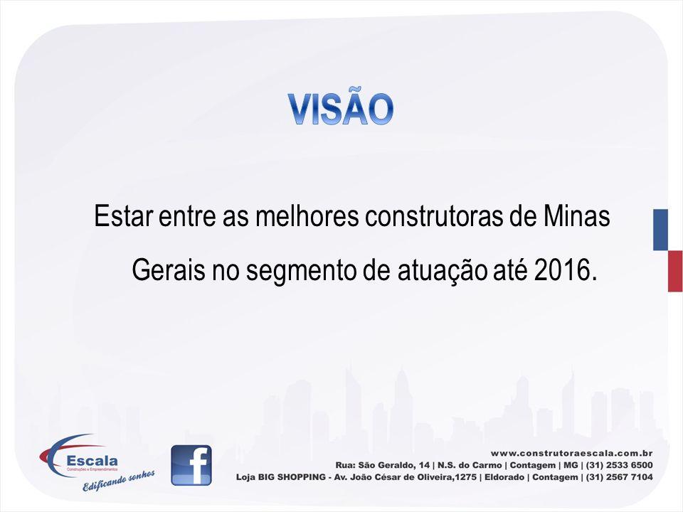Estar entre as melhores construtoras de Minas Gerais no segmento de atuação até 2016.