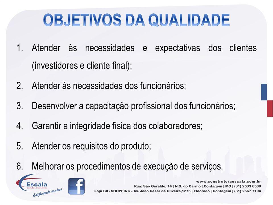 1.Atender às necessidades e expectativas dos clientes (investidores e cliente final); 2.Atender às necessidades dos funcionários; 3.Desenvolver a capa