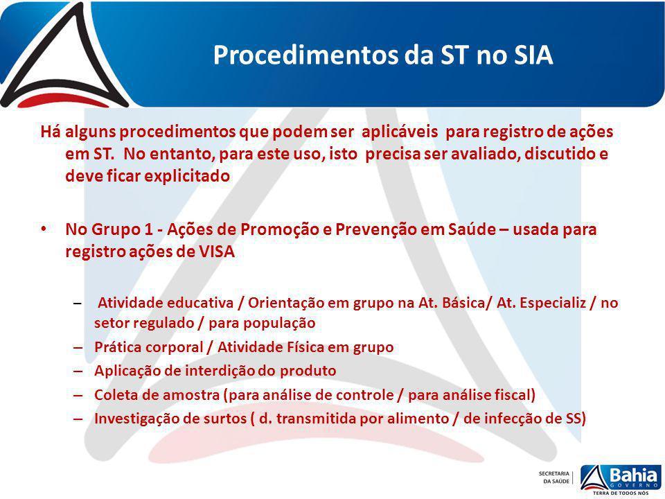 Procedimentos da ST no SIA Há alguns procedimentos que podem ser aplicáveis para registro de ações em ST. No entanto, para este uso, isto precisa ser