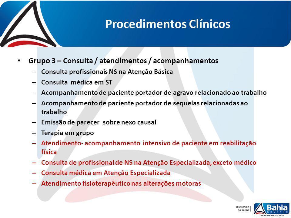 Procedimentos Clínicos Grupo 3 – Consulta / atendimentos / acompanhamentos – Consulta profissionais NS na Atenção Básica – Consulta médica em ST – Aco