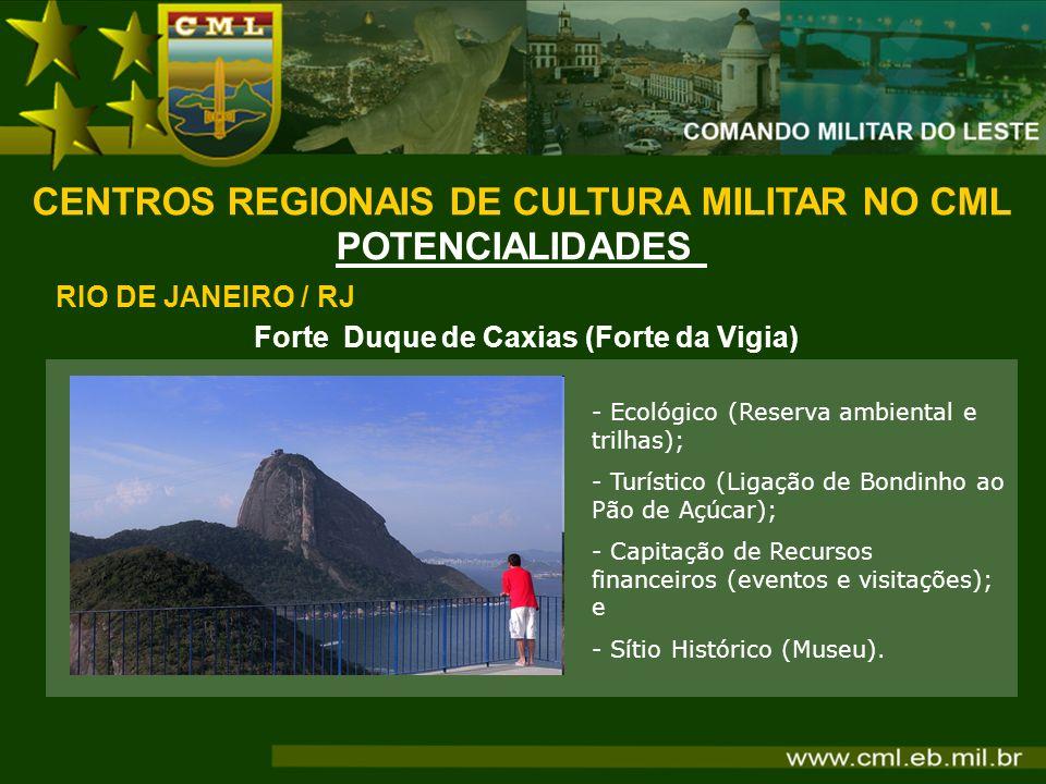 Forte Duque de Caxias (Forte da Vigia) CENTROS REGIONAIS DE CULTURA MILITAR NO CML POTENCIALIDADES RIO DE JANEIRO / RJ - Ecológico (Reserva ambiental