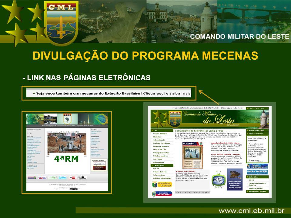DIVULGAÇÃO DO PROGRAMA MECENAS - LINK NAS PÁGINAS ELETRÔNICAS 4ªRM