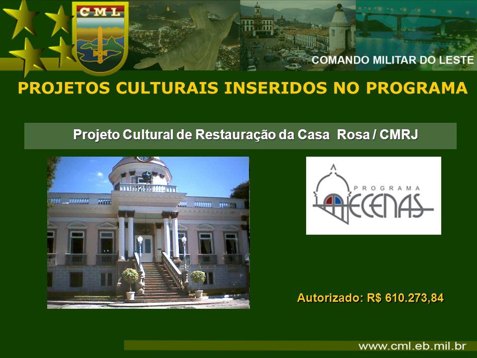 Projeto Cultural de Restauração da Casa Rosa / CMRJ PROJETOS CULTURAIS INSERIDOS NO PROGRAMA Autorizado: R$ 610.273,84