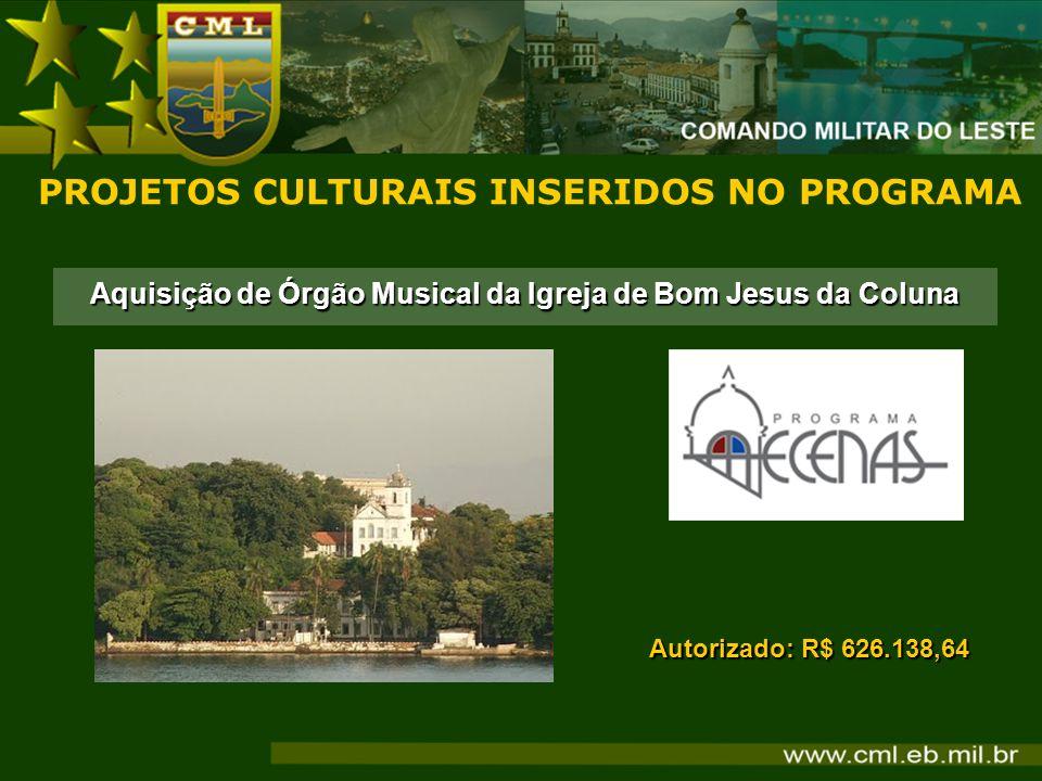 PROJETOS CULTURAIS INSERIDOS NO PROGRAMA Autorizado: R$ 626.138,64 Aquisição de Órgão Musical da Igreja de Bom Jesus da Coluna
