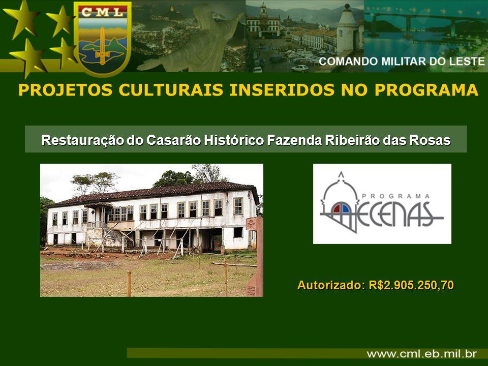 Restauração do Casarão Histórico Fazenda Ribeirão das Rosas PROJETOS CULTURAIS INSERIDOS NO PROGRAMA Autorizado: R$2.905.250,70