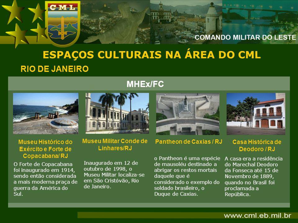 ESPAÇOS CULTURAIS NA ÁREA DO CML RIO DE JANEIRO Museu Histórico do Exército e Forte de Copacabana/ RJ O Forte de Copacabana foi inaugurado em 1914, se