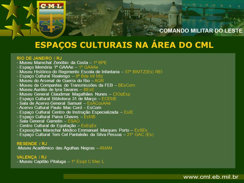 ESPAÇOS CULTURAIS NA ÁREA DO CML RIO DE JANEIRO / RJ - Museu Marechal Zenóbio da Costa – 1º BPE - Espaço Memória 1º GAAAe – 1º GAAAe - Museu Histórico