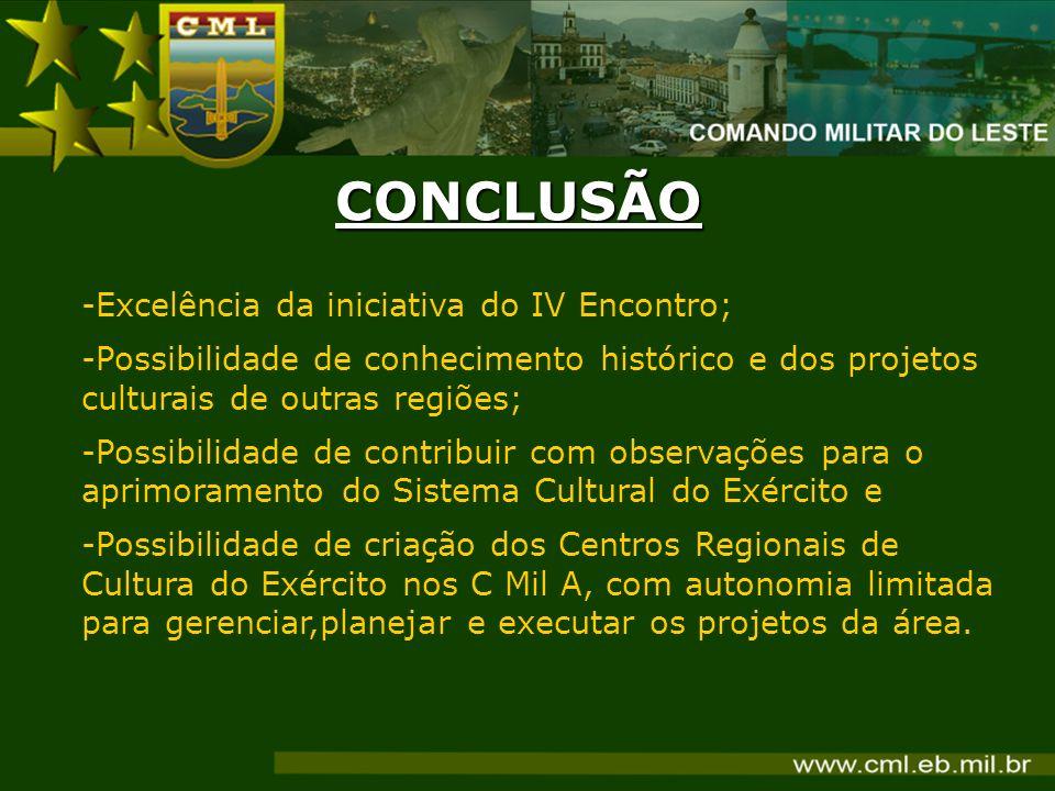 -Excelência da iniciativa do IV Encontro; -Possibilidade de conhecimento histórico e dos projetos culturais de outras regiões; -Possibilidade de contr
