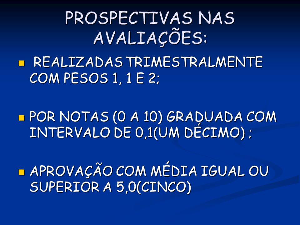 PROSPECTIVAS NAS AVALIAÇÕES: REALIZADAS TRIMESTRALMENTE COM PESOS 1, 1 E 2; REALIZADAS TRIMESTRALMENTE COM PESOS 1, 1 E 2; POR NOTAS (0 A 10) GRADUADA COM INTERVALO DE 0,1(UM DÉCIMO) ; POR NOTAS (0 A 10) GRADUADA COM INTERVALO DE 0,1(UM DÉCIMO) ; APROVAÇÃO COM MÉDIA IGUAL OU SUPERIOR A 5,0(CINCO) APROVAÇÃO COM MÉDIA IGUAL OU SUPERIOR A 5,0(CINCO)