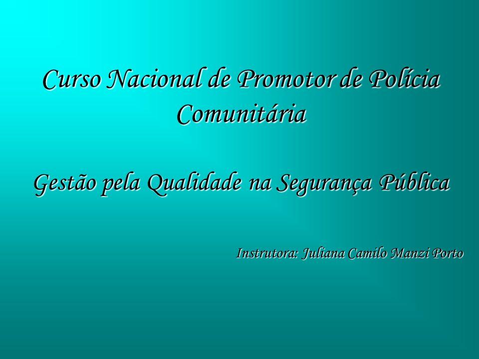 Curso Nacional de Promotor de Polícia Comunitária Gestão pela Qualidade na Segurança Pública Instrutora: Juliana Camilo Manzi Porto