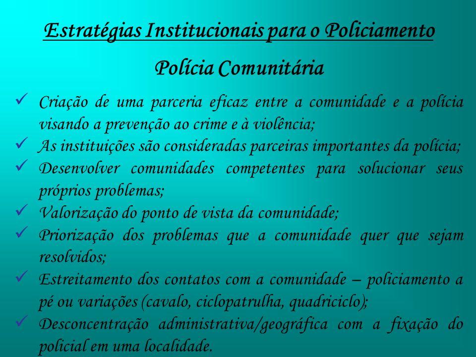 Estratégias Institucionais para o Policiamento Polícia Comunitária Criação de uma parceria eficaz entre a comunidade e a polícia visando a prevenção a