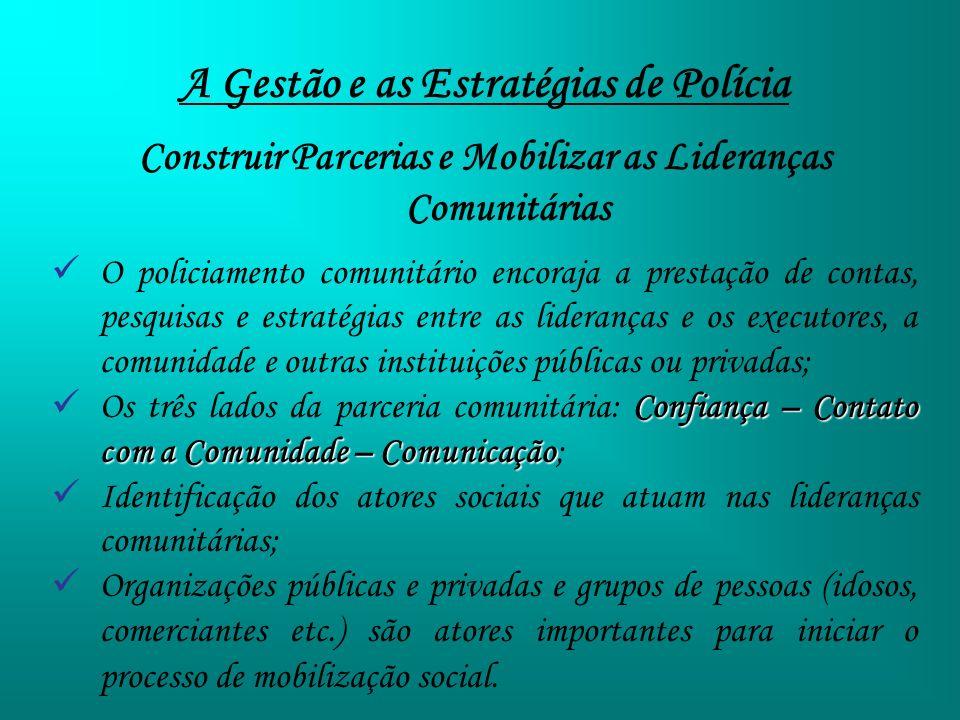 A Gestão e as Estratégias de Polícia Construir Parcerias e Mobilizar as Lideranças Comunitárias O policiamento comunitário encoraja a prestação de con