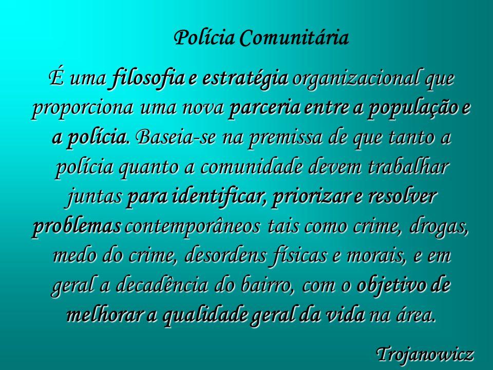 É uma filosofia e estratégia organizacional que proporciona uma nova parceria entre a população e a polícia. Baseia-se na premissa de que tanto a polí