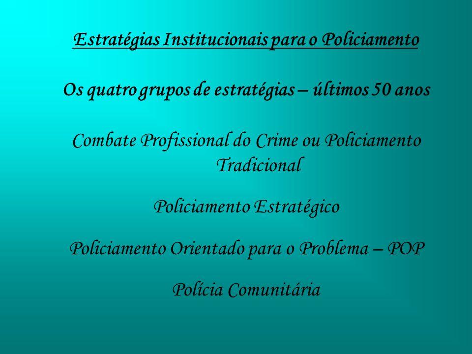 Estratégias Institucionais para o Policiamento Os quatro grupos de estratégias – últimos 50 anos Combate Profissional do Crime ou Policiamento Tradici