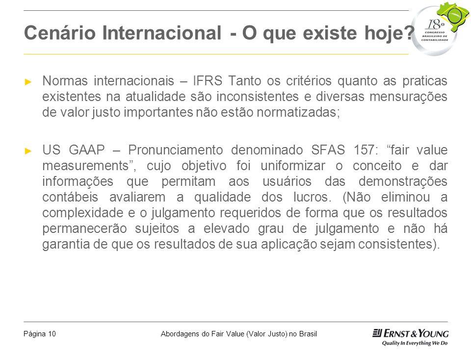 Abordagens do Fair Value (Valor Justo) no BrasilPágina 9 Quando Utilizar o Valor Justo Mensuração - reconhecimento inicial Re-mensuração - reconhecime
