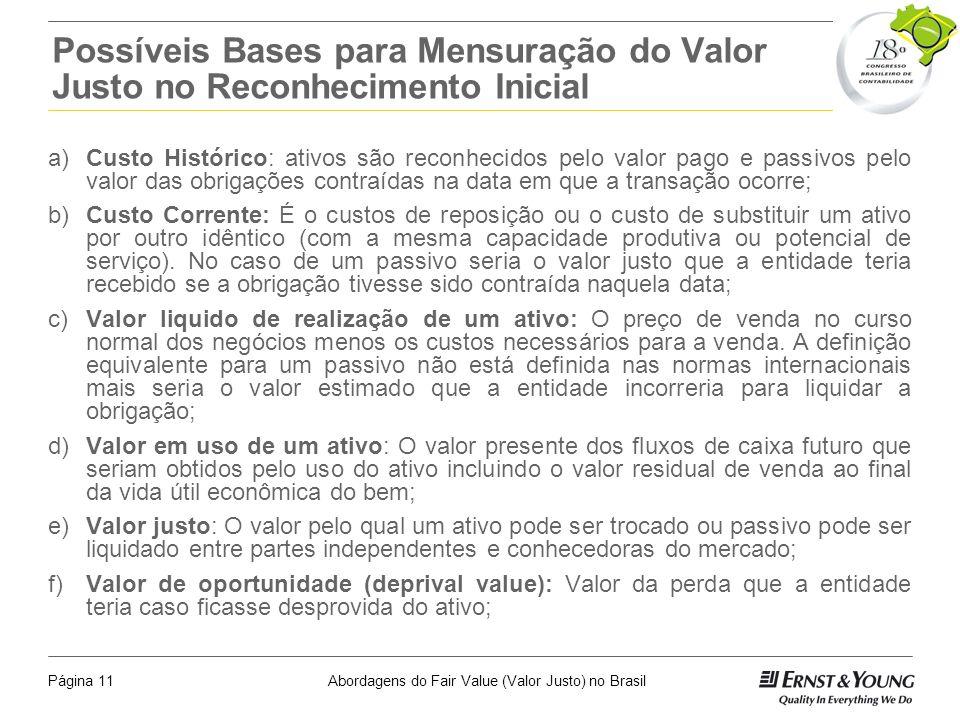 Abordagens do Fair Value (Valor Justo) no BrasilPágina 10 Cenário Internacional - O que existe hoje? Normas internacionais – IFRS Tanto os critérios q