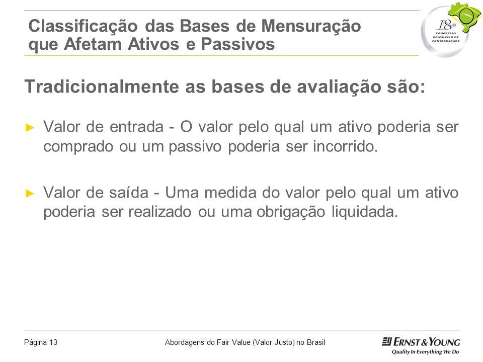 Abordagens do Fair Value (Valor Justo) no BrasilPágina 12 Técnicas e Métodos de Avaliação Os modelos matemáticos, econômicos e os instrumentos estatís