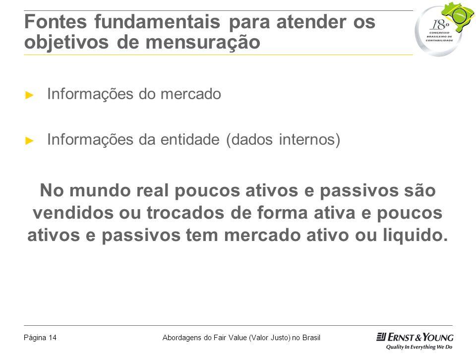 Abordagens do Fair Value (Valor Justo) no BrasilPágina 13 Classificação das Bases de Mensuração que Afetam Ativos e Passivos Tradicionalmente as bases