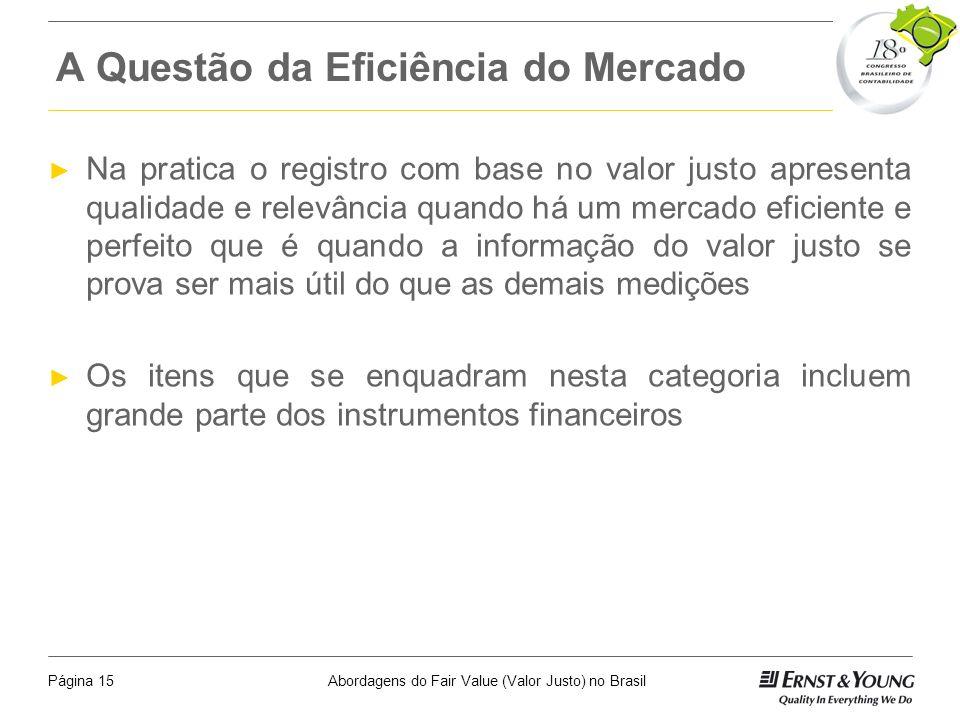Abordagens do Fair Value (Valor Justo) no BrasilPágina 14 Fontes fundamentais para atender os objetivos de mensuração Informações do mercado Informaçõ