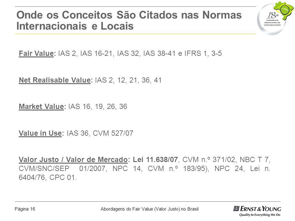 Abordagens do Fair Value (Valor Justo) no BrasilPágina 15 A Questão da Eficiência do Mercado Na pratica o registro com base no valor justo apresenta q