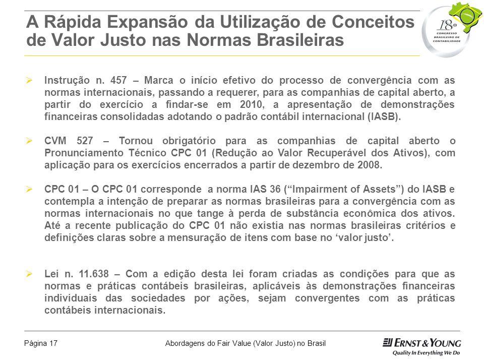 Abordagens do Fair Value (Valor Justo) no BrasilPágina 16 Onde os Conceitos São Citados nas Normas Internacionais e Locais Fair Value: IAS 2, IAS 16-2