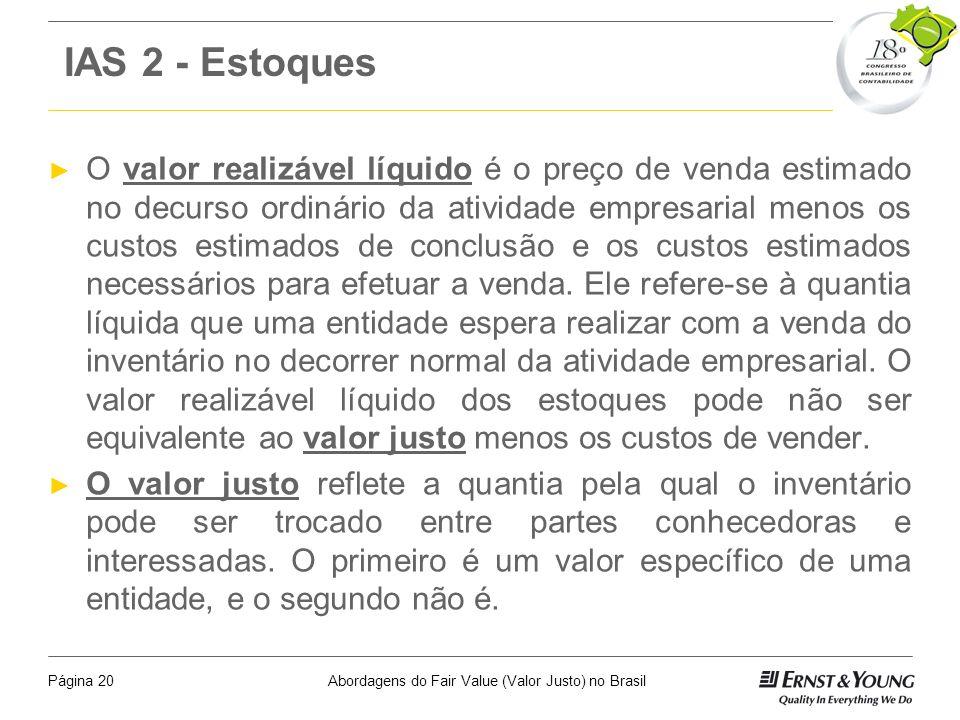 Abordagens do Fair Value (Valor Justo) no BrasilPágina 19 Itens Para Reflexão A adoção do valor justo não é uma unanimidade entre os especialistas no